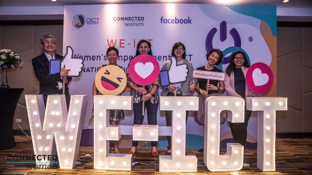 The WE-ICT partnership aims to empower women by imparting economic and digital literacy skills through various workshops. Pictured are (Left to Right: Mon Ibrahim, DICT Undersecretary; Gina Romero, CEO and Co-Founder of Connected Women; Clair Deevy, Facebook Director of Community Affairs for Asia Pacific; Cheryl Ortega, DICT Luzon Cluster Director; Ruth Yu-Owen, COO and Co-Founder of Connected Women, and Evamay Dela Rosa, DICT Mindanao Cluster Director.
