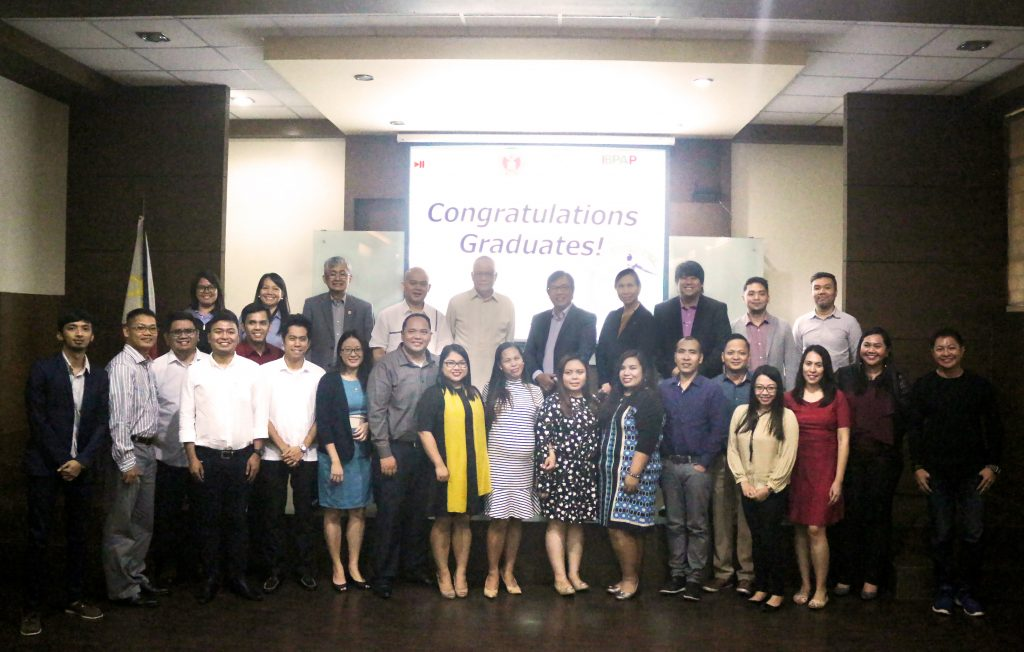 Graduates from the first batch of scholars of the Business Analytics for Information Technology-Business Process Management (IT-BPM) ICT Training Program together with the officials from DICT, UP NEC, and IBPAP