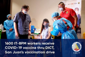 1600 IT-BPM workers receive COVID-19 vaccine thru DICT, San Juan's vaccination drive